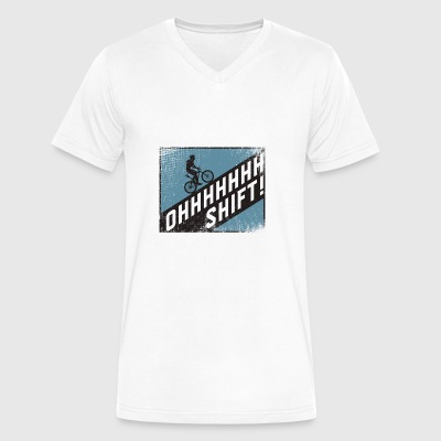 Ohh Shift funny Bicycle Shirt - Men's V-Neck T-Shirt by Canvas