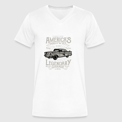 America s Highway. Classic Cars At Vintage Garage. - Men's V-Neck T-Shirt by Canvas