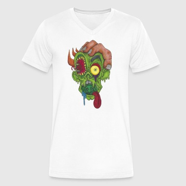 Psychedelic Zombie Head - Dominic Vizdos - Men's V-Neck T-Shirt by Canvas