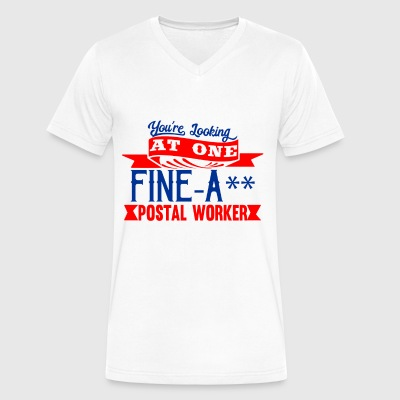 Fine-A** Postal Worker - Men's V-Neck T-Shirt by Canvas