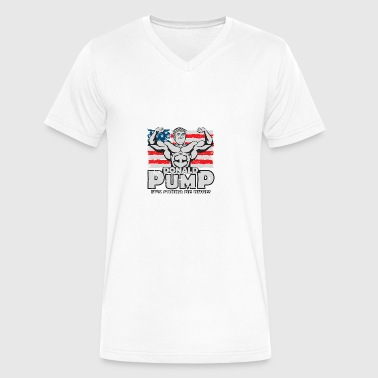 Donald Pump - American Flag - Men's V-Neck T-Shirt by Canvas