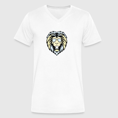 Lion with sunglasses - Men's V-Neck T-Shirt by Canvas