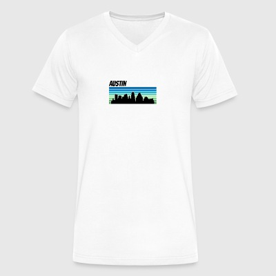 Retro Austin Skyline - Men's V-Neck T-Shirt by Canvas