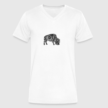 Grazing Buffalo Zentangle (abstract doodle) - Men's V-Neck T-Shirt by Canvas