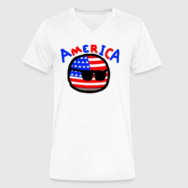 Americaball - Men's V-Neck T-Shirt by Canvas