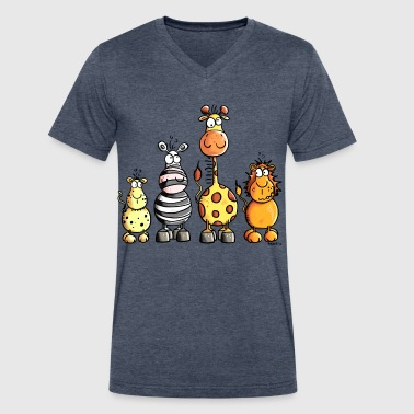 Cute Kids Sayings Cute Africa Animals - Zoo - Kids - Cute - Comic - Men's V-Neck T-Shirt by Canvas