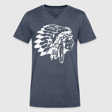 Native Chief Native Indian Chief with Headress - Men's V-Neck T-Shirt by Canvas