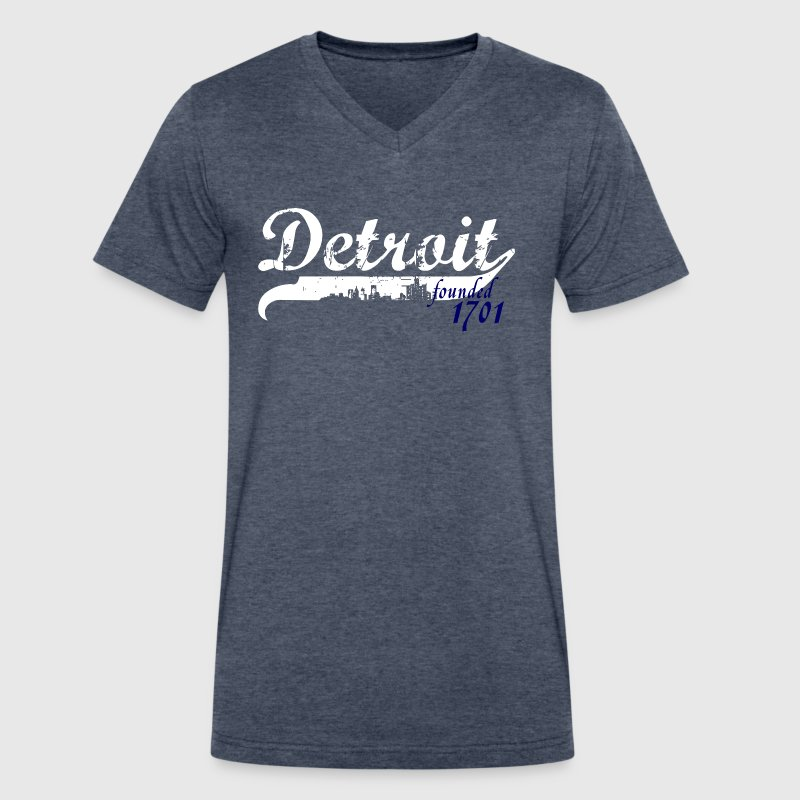 Detroit City 1701 Founded Michigan Apparel Shirts - Men's V-Neck T-Shirt by Canvas