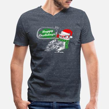 Happy Holidays Happy Owlidays Christmas Holidays Owl Lover Owls - Men's V-Neck T-Shirt by Canvas