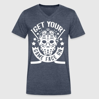 Get Your Game Face On (Hockey) - Men's V-Neck T-Shirt by Canvas