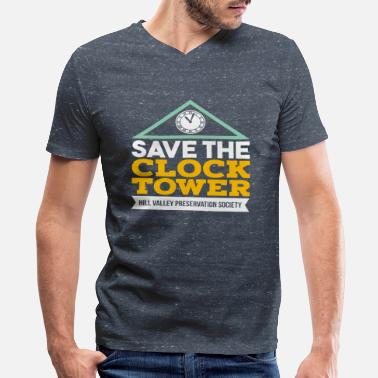 Film Buff Save the Clock Tower  Movie Buff Cinemagoer - Men's V-Neck T-Shirt by Canvas