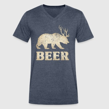 Beer Bear With Antlers Vintage Bear+Deer=Beer - Men's V-Neck T-Shirt by Canvas