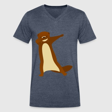 Funny Dabbing Otter Gift Design - Men's V-Neck T-Shirt by Canvas