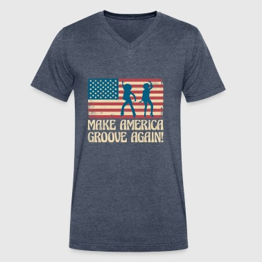 Make America groove again - USA dancing flag - Men's V-Neck T-Shirt by Canvas