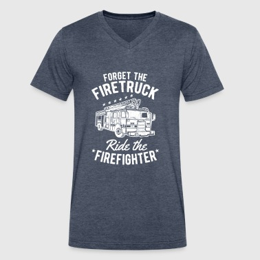 Forget the Firetruck ride the Firefighter - Men's V-Neck T-Shirt by Canvas