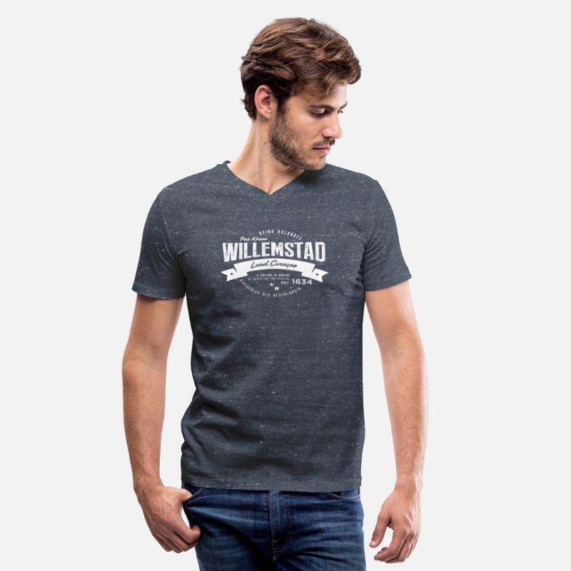 Curacao T-Shirts - Willemstad, Curaçao - Men's V-Neck T-Shirt heather navy