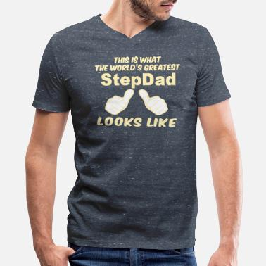 Greatest This Is What The World's Greatest StepDad Looks Li - Men's V-Neck T-Shirt by Canvas