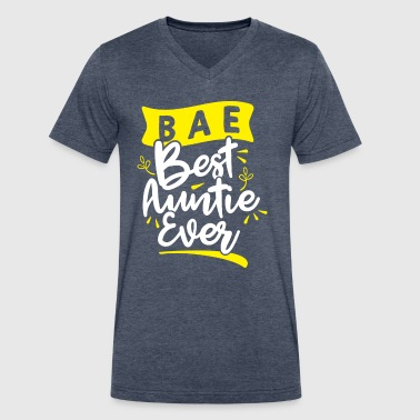 Best Nephew Ever Best Auntie Ever BAE Funny Aunt Nephew Niece - Men's V-Neck T-Shirt by Canvas