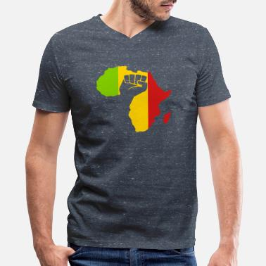 Africa Green Yellow Red african_black_power - Men's V-Neck T-Shirt by Canvas