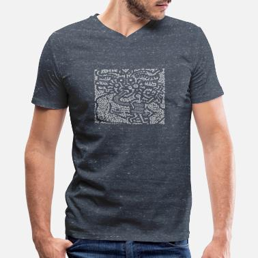 Keith Haring KEITH HARING ART STREET - Men's V-Neck T-Shirt by Canvas