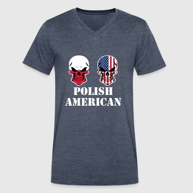 Polish American Flag Polish American Flag Skulls - Men's V-Neck T-Shirt by Canvas