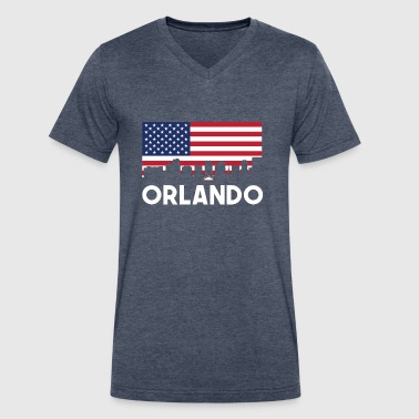 Orlando FL American Flag Skyline - Men's V-Neck T-Shirt by Canvas