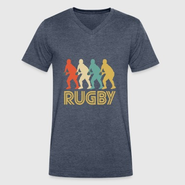 Retro Rugby Pop Art - Men's V-Neck T-Shirt by Canvas