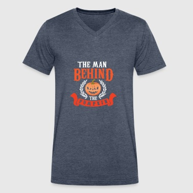 Thanksgiving Satire The man behind the pumpkin - Men's V-Neck T-Shirt by Canvas