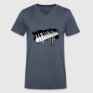 Keyboard Piano keyboard in graffiti style - Men's V-Neck T-Shirt by Canvas