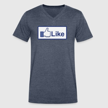 facebook like button - Men's V-Neck T-Shirt by Canvas