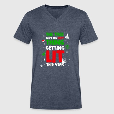 The Tree Isnt The Only Thing Getting Lit This Year - Men's V-Neck T-Shirt by Canvas