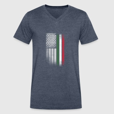 Hungarian American Flag - Men's V-Neck T-Shirt by Canvas