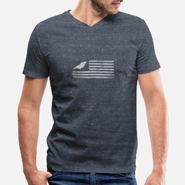Georgia State Outline Georgia State United States Flag Vintage USA - Men's V-Neck T-Shirt by Canvas