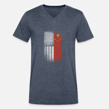 Half Chinese Chinese American Flag - Half Chinese Half American - Men's V-Neck T-Shirt by Canvas