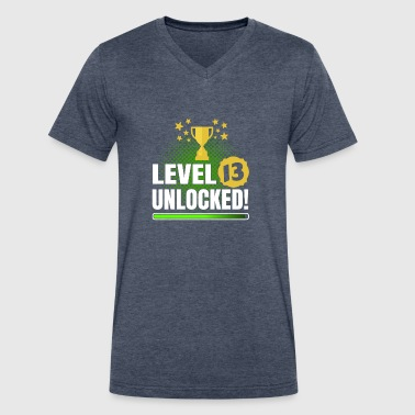 Level 13 Unlocked 13th Birthday Gaming & Gamer Shirt - Men's V-Neck T-Shirt by Canvas