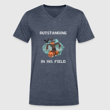 Fall Scarecrow Outstanding in his Field - Men's V-Neck T-Shirt by Canvas