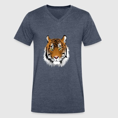 Tiger Lion Face Tiger Face - Men's V-Neck T-Shirt by Canvas