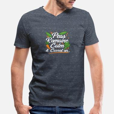 Romain Peas Romaine Calm And Carrot On - Men's V-Neck T-Shirt by Canvas
