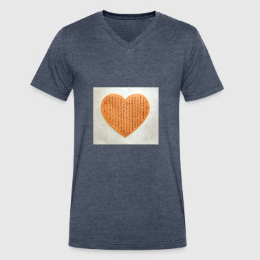 Chinese Calligraphy Heart Shape Chinese calligraphy - Men's V-Neck T-Shirt by Canvas