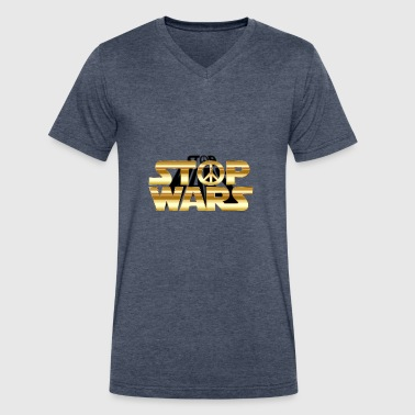 Stop Wars - Men's V-Neck T-Shirt by Canvas