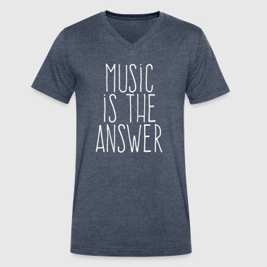 music is the answer - Men's V-Neck T-Shirt by Canvas