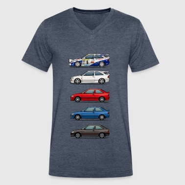 Stack of Ford Escort MkVs Coupes - Men's V-Neck T-Shirt by Canvas