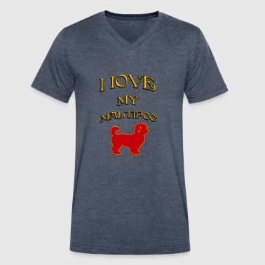I LOVE MY DOG Maltipoo - Men's V-Neck T-Shirt by Canvas
