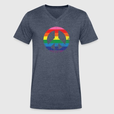 Ty Andrews Peace Rainbow V-Neck Tee - Men's V-Neck T-Shirt by Canvas