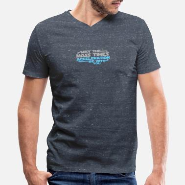 May The Mass Times Acceleration Be With You May The Mass Times Acceleration Be With You - Men's V-Neck T-Shirt by Canvas
