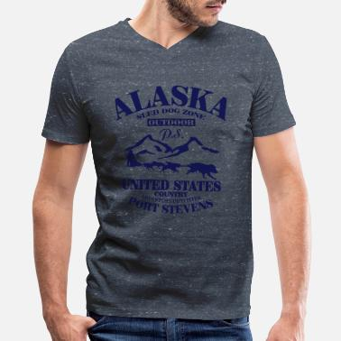 The Yukon Quest Husky - dog sled - Yukon Quest - Alaska  - Men's V-Neck T-Shirt by Canvas