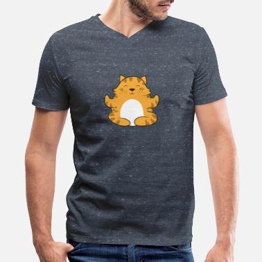 Meditation Yoga - cat meditates in lotus position - Men's V-Neck T-Shirt