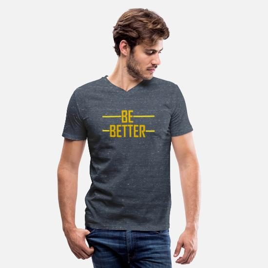 Better T-Shirts - BE BETTER - Men's V-Neck T-Shirt heather navy