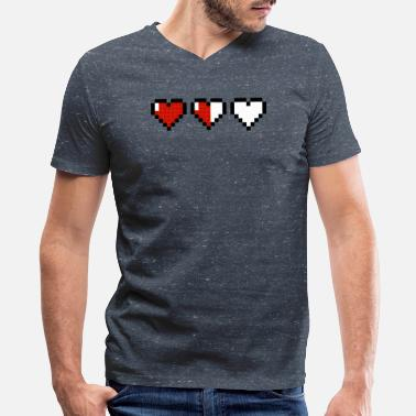 Pixel Heart Mario Gaming One More - Men's V-Neck T-Shirt by Canvas