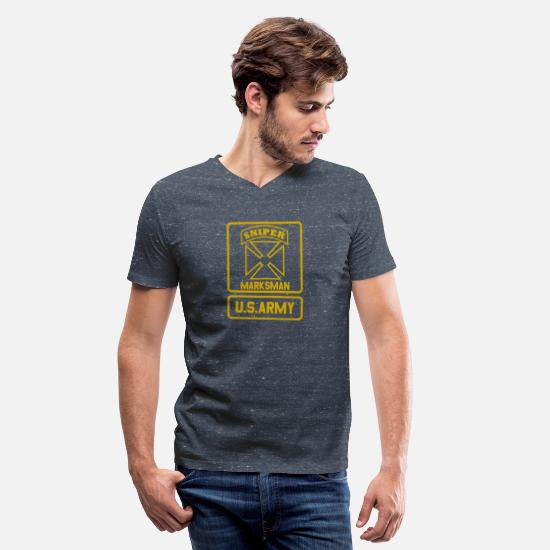 State T-Shirts - MARKSMAN SNIPER U.S.ARMY - Men's V-Neck T-Shirt heather navy